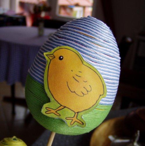Teraz jajko oplecione włóczką
